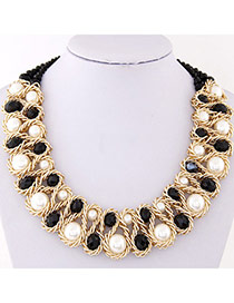 Luxurious Black & White Beads Decorated Weave Design