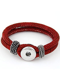 High-quality Claret-red Double Layer Simple Design Alloy Korean Fashion Bracelet