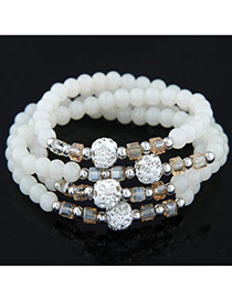 Summer White Beads Decorated Multilayer Design Alloy Korean Fashion Bracelet