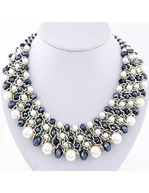 Fashion Gray Pearl Decorated Multilayer Weave Design Alloy Bib Necklaces