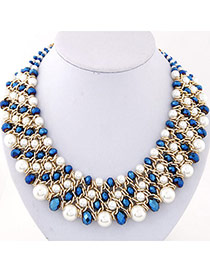Fashion Blue Pearl Decorated Multilayer Weave Design Alloy Bib Necklaces