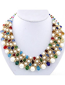 Fashion Multicolor Pearl Decorated Multilayer Weave Design Alloy Bib Necklaces