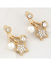 Sweet Gold Color Diamond Decorated Star Shape Design