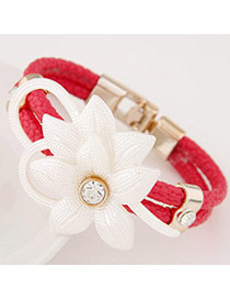 Elegant Red Flower Decorated Double Layer Design Leather Korean Fashion Bracelet