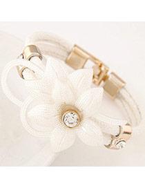 Elegant White Flower Decorated Double Layer Design Leather Korean Fashion Bracelet