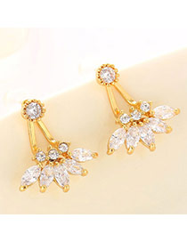 Boutique Champagne Gold Diamond Decorated Flower Design  Cuprum Fashion earrings