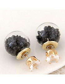 Brilliant Black Diamond Decorated Round Shape Design Alloy Stud Earrings