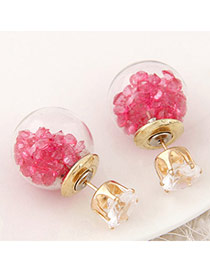 Brilliant Plum Red Diamond Decorated Round Shape Design
