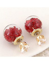 Brilliant Red Diamond Decorated Round Shape Design Alloy