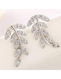 Classic Silver Color Diamond Decorated Leaf Shape Design  Cuprum Fashion earrings