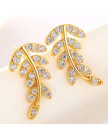 Classic Champagne Gold Diamond Decorated Leaf Shape Design  Cuprum Fashion earrings