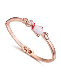 Cute Rose Gold & White Diamond Decorated Fish Shape Design  Alloy Crystal Bracelets