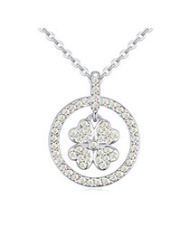 Tinsel White Diamond Decorated Clover Shape Pendant Design  Alloy Crystal Necklaces