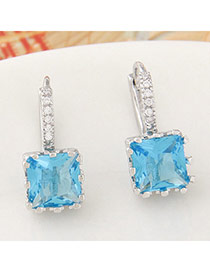 Parsimonious Blue Gemstone Decorated Square Shape Design  Cuprum Stud Earrings