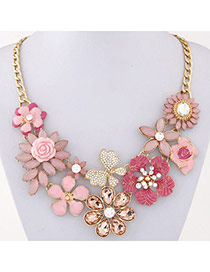 Luxury Pink Gemstone Decorated Flower Design Alloy Bib Necklaces