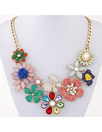 Luxury Multicolor Gemstone Decorated Flower Design Alloy Bib Necklaces