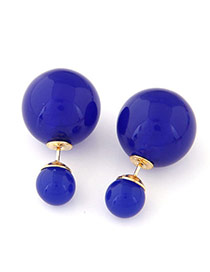 Candy Color  Sapphire Blue Round Shape Decorated Simple Design  Alloy Stud Earrings
