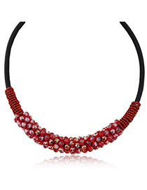 Magnificent Red Beads Decorated Weace Design Alloy Korean Necklaces