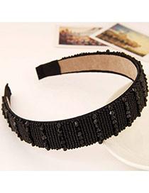 Joker Black Beads Decorated Simple Design Imitation Crystal Hair band hair hoop