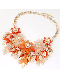 Joker Orange Flower & Leaf Shape Decorated Tassel Design Alloy Bib Necklaces