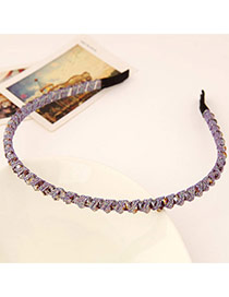 Fashion Purple Diamond Decorated Weave Design  Alloy Hair band hair hoop