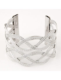 High-quality Silver Color Hollow Out Weave Design  Alloy Fashion Bangles