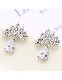 Temperament Silver Color Diamond Decorated Crown & Waterdrop Shape Design  Zircon Stud Earrings
