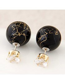Candy Color Black Round Shape Decorated Simple Design Alloy Stud Earrings