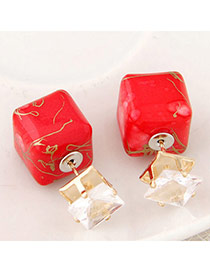 Luxury Red Gemstone Decorated Square Shape Design Alloy Stud Earrings