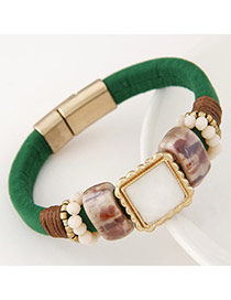Upscale Green Gemstone Decorated Square Shape Design Alloy Korean Fashion Bracelet