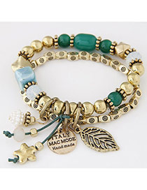Elegant Green Beads Decorated Leaf Shape Double Layer Design Alloy Korean Fashion Bracelet