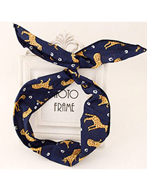 Wholesale Navy Blue & Yellow Animal Pattern Simple Design Fabric Hair band hair hoop
