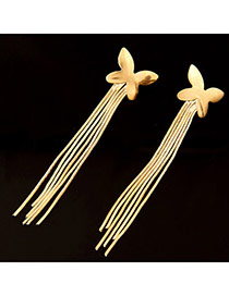 Magniloquent Gold Color Butterfly Shape Decorated Tassel Design  Alloy Stud Earrings