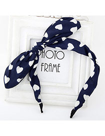 Elegant Navy Blue Heart Pattern Simple Design Fabric Hair band hair hoop