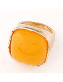Fashion Orange&gold Color Gemstone Decorated Square Shape Design  Alloy Korean Rings