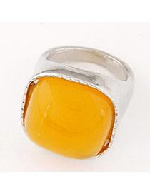 Fashion Orange&silver Color Gemstone Decorated Square Shape Design  Alloy Korean Rings