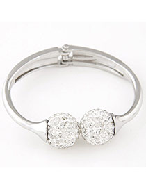 Temperament White&silver Color Ball Shape Decorated Simple Design  Alloy Fashion Bangles