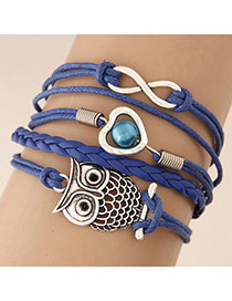 Retro Blue Metal Fish Shape Decorated Multilayer Design
