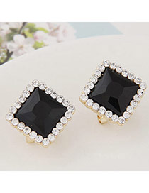 Exquisite Black Gemstone Decorated Square Shape Design  Alloy Stud Earrings