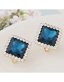 Exquisite Dark Green Gemstone Decorated Square Shape Design  Alloy Stud Earrings
