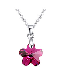 Exquisite Purple Wintersweet Shape Pendant Simple Design  Cuprum Crystal Necklaces