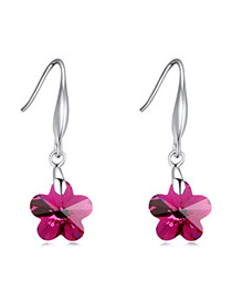 Exquisite Amaranth Wintersweet Shape Decorated Simple Design  Cuprum Crystal Earrings