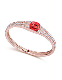 Exquisite Water Lotus Red Artificial Stone Decorated Simple Design  Cuprum Crystal Bracelets