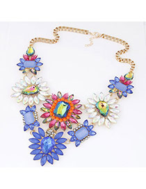 Exquisite Multicolor Gemstone Decorated Flower Shape Design