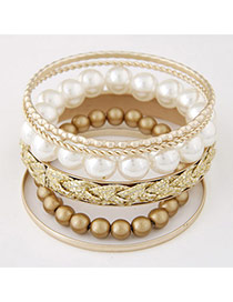Exquisite Gold Color Beads Decorated Multilayer Design Alloy Fashion Bangles