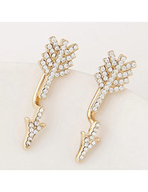 Exquisite Gold Color Diamond Decorated Sword Shape Design