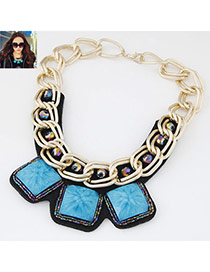 Occident Blue Square Gemstone Decorated Short Chain Design