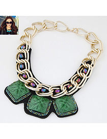 Occident Dark Green Square Gemstone Decorated Short Chain Design