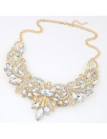 Fashion White&gold Color Diamond Decorated Simple Design