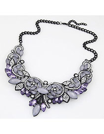 Fashion Purple&black Diamond Decorated Simple Design Alloy Bib Necklaces